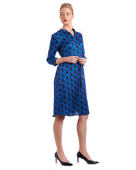 You'll feel empowered in this printed silk shirt dress by Tahlo