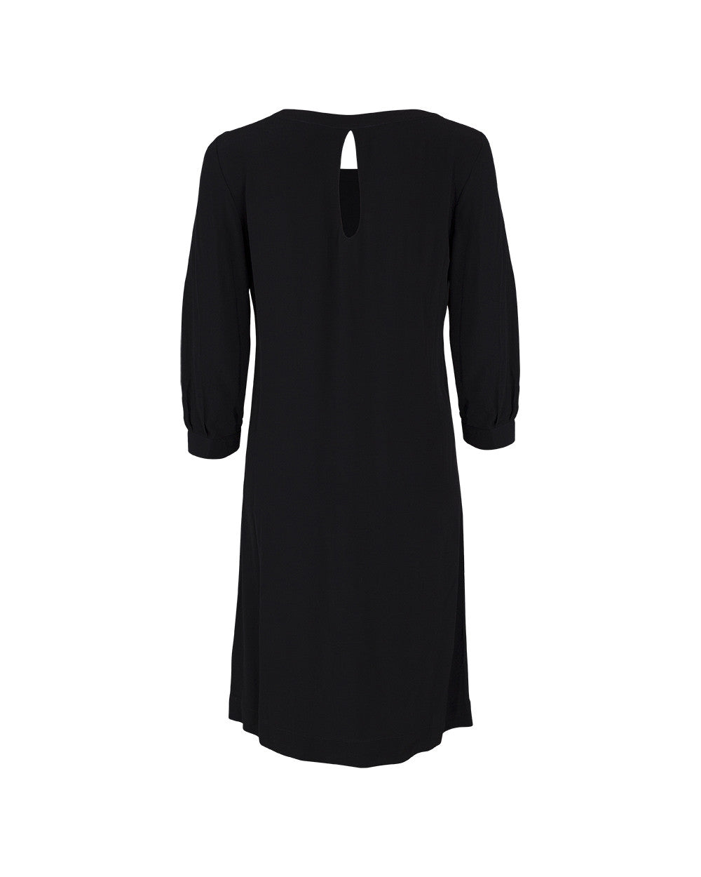 This black work dress has the extra detail of a keyhole neckline at the back to add detail but in a modest way