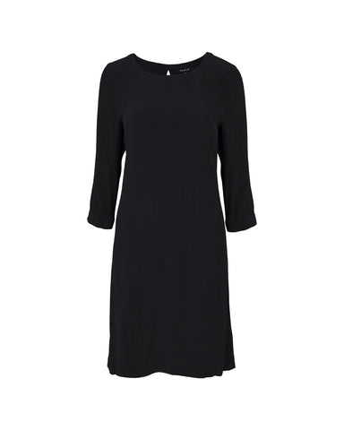 Tahlo black work dress with round neck and keyhole back. Falls above the knee.