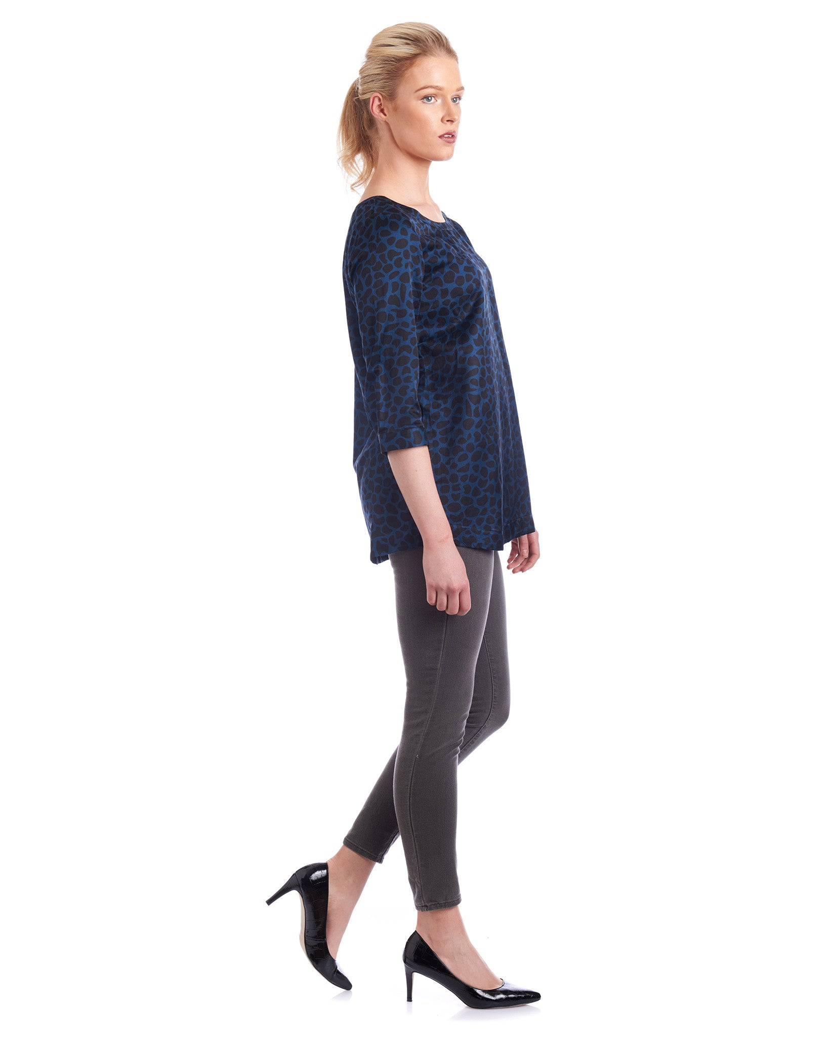 Tahlo's keyhole silk blouse can be work as a relaxed silhouette