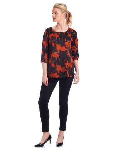 Keyhole silk blouse with bold prints