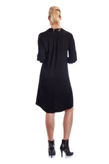 Customise the dress length of your black shirt dress to suit your body shape
