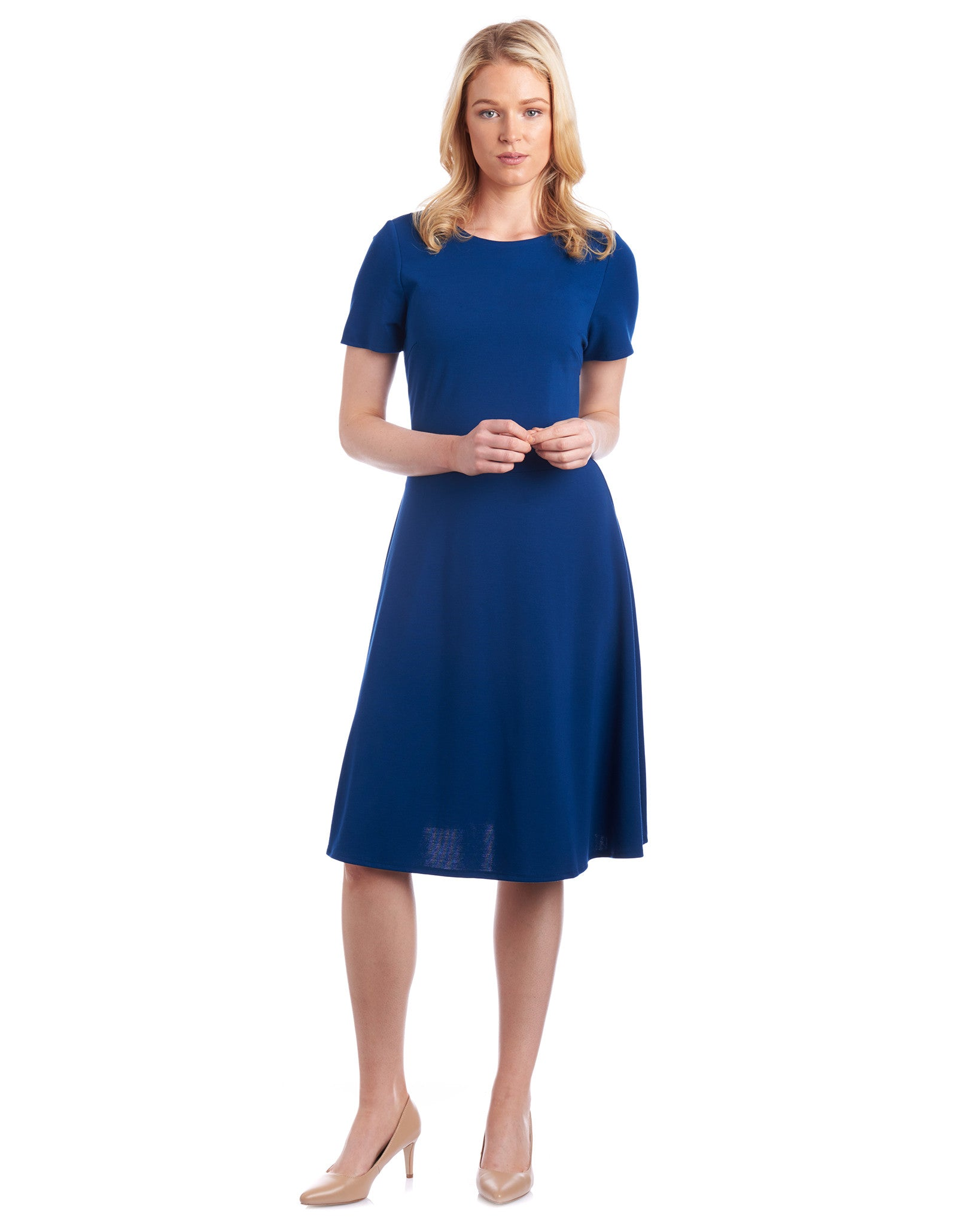 Customise the sleeve length on your fit & flare dress. Choose from above the elbow, below the elbow to short sleeve.