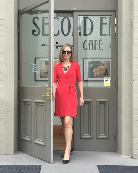 Customise this red wrap dress to have 3/4 length sleeves or add length to the skirt to fall below the knee