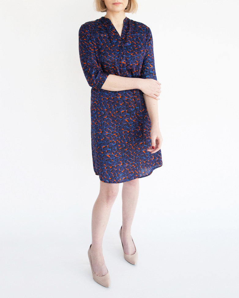 Tahlo's silk shirt dress can be belted or worn loose