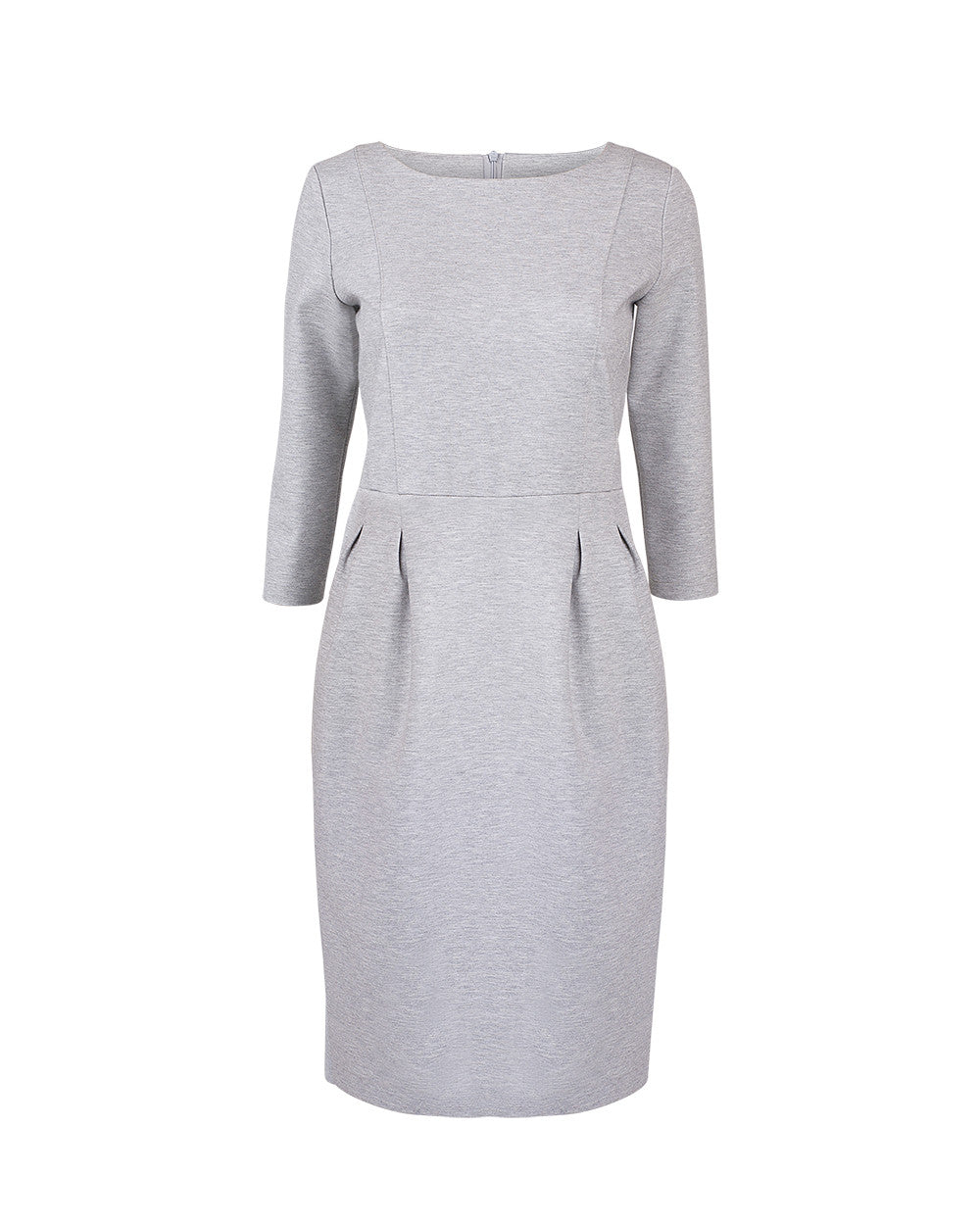 Grey heather tulip dress with sleeves falls above the knee, knee length