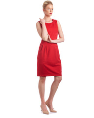 Knee-length Red Tulip dress. Sleeveless, add sleeves to customise this dress.