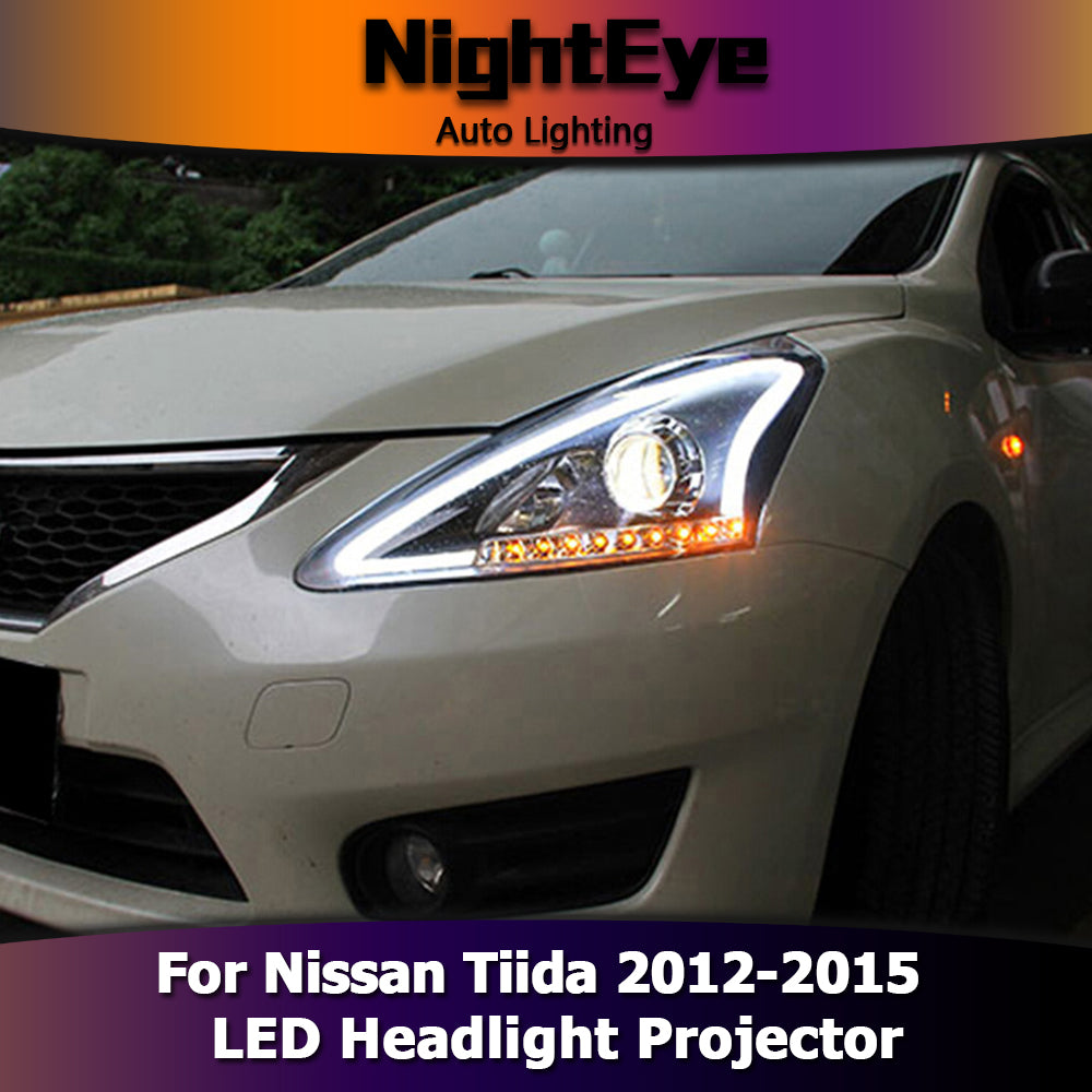 NightEye Car Styling for Nissan Tiida Headlights 2012-2015 New Tiida LED Headlight Signal LED DRL Bi Xenon Lens High Low Beam Parking