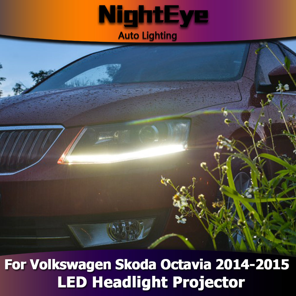 NightEye Car Styling for Skoda Octavia Headlights 2014-2015 New Octavia LED Headlight LED DRL Bi Xenon Lens High Low Beam Parking