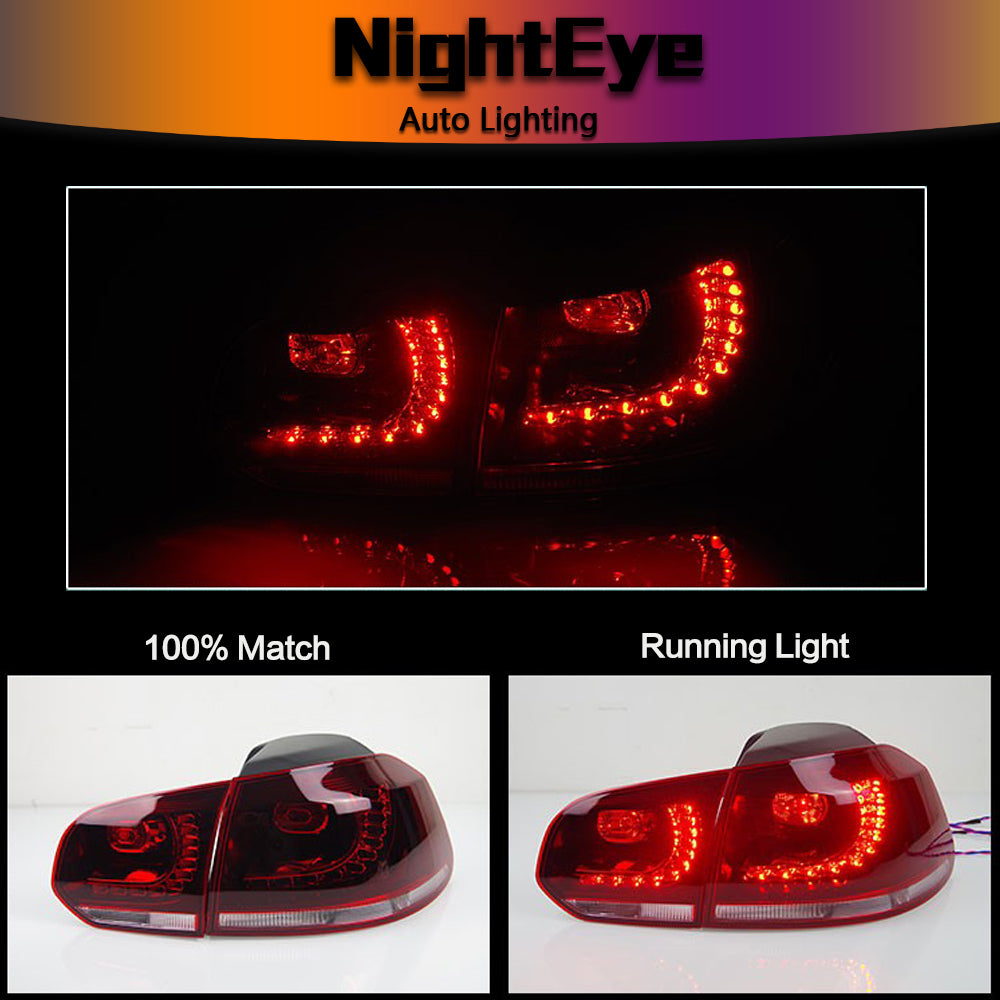 NightEye Car Styling for VW Golf 6 Tail Lights 2009-2012 Golf 6 R LED Tail Light Golf6 Rear Lamp LED DRL+Brake+Park+Signal