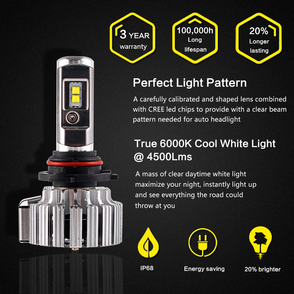 2016 NIGHTEYE 9000LM 70W 6000K Car LED Headlights CREE Lumileds CSP LED Chips 9006