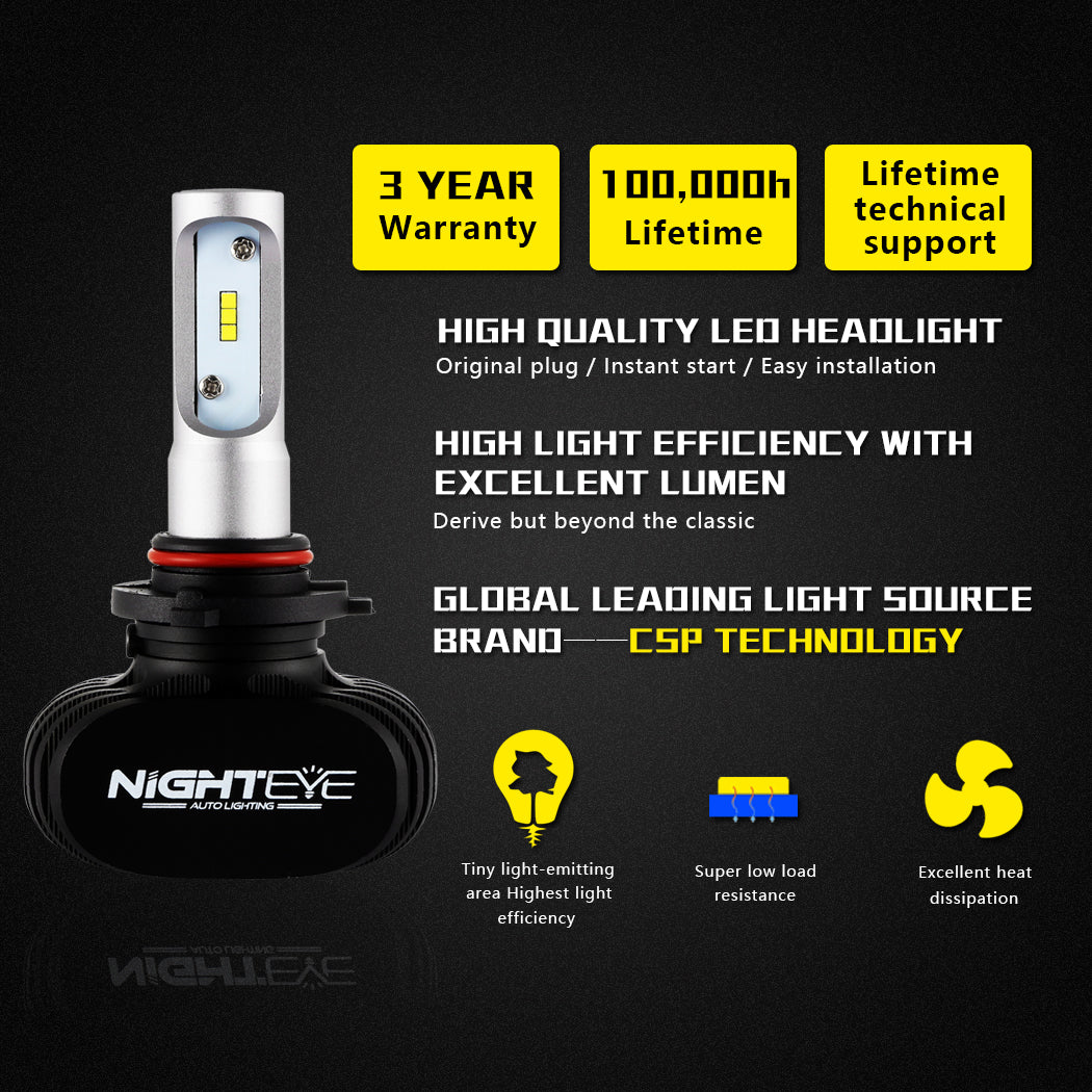 NIGHTEYE 8000LM LED Headlight 9005 HB3 Car Driving Fog Lamp Light Bulbs Replace