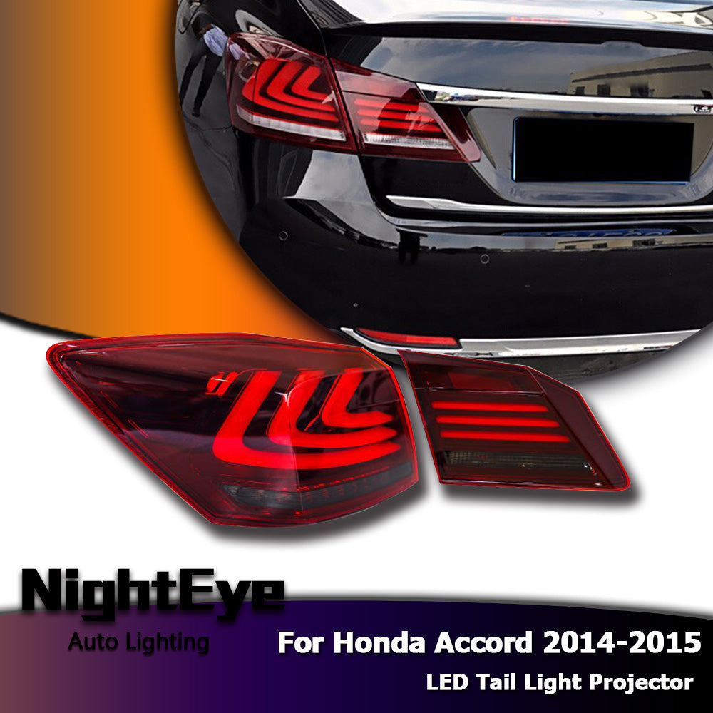 NightEye Car Styling for Accord Tail Lights 2014-2015 New Accord9 LED Tail Light LED Rear Lamp LED DRL+Brake+Park+Signal