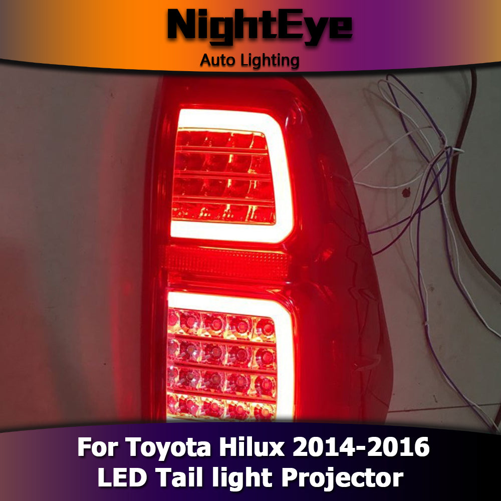 NightEye Car Styling for Toyota Hilux Tail Lights 2014-2016 New Revo LED Tail Light Vigo LED Rear Lamp DRL+Brake+Park+Signal