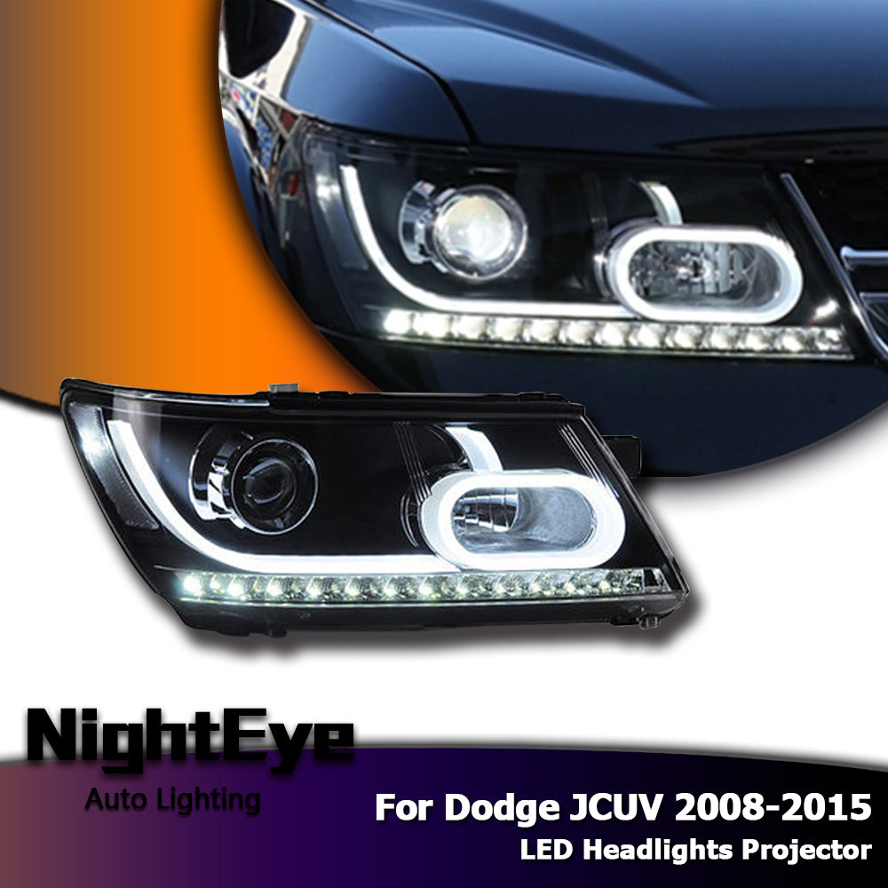 NightEye Car Styling for Dodge Journey Headlights 2008-2015 New JCUV LED Headlight DRL Bi Xenon Lens High Low Beam Parking Fog Lamp