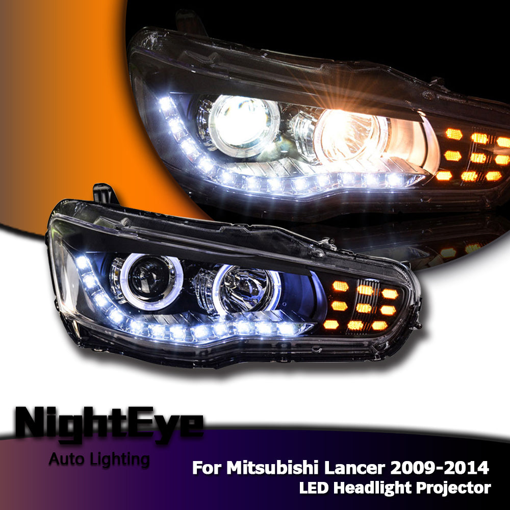 NightEye Car Styling for Mitsubishi Lancer Headlights 2009-2014 Lancer EX LED Headlight LED DRL Bi Xenon Lens High Low Beam Parking