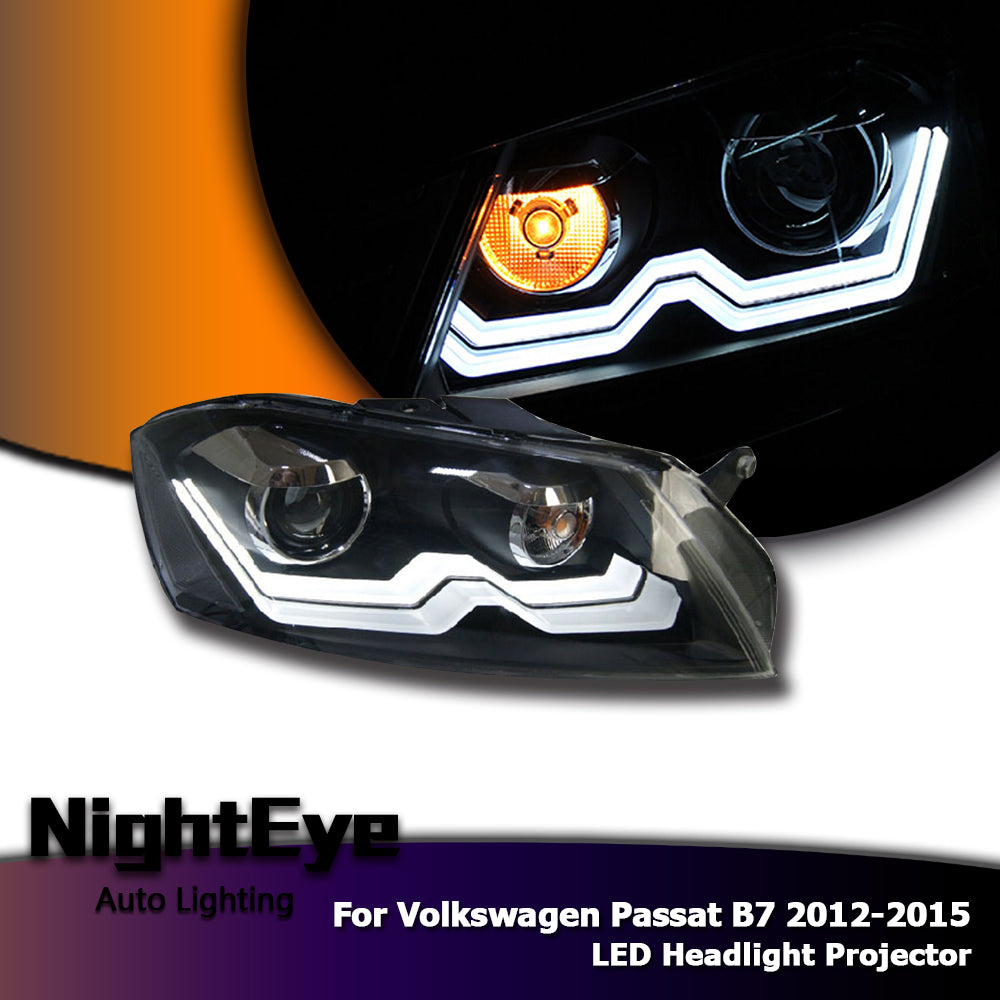 NightEye Car Styling for Passat B7 LED Headlights 2012-2015 VW Passat LED Headlight DRL Bi Xenon Lens High Low Beam Parking Fog Lamp