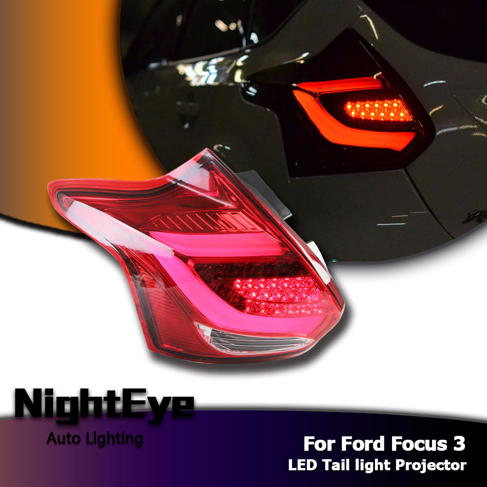 NightEye Car Styling LED Tail Lamp for Ford Focus Tail Lights Focus 3 Hatch Back LED Tail Light Rear Lamp DRL+Brake+Park+Signal