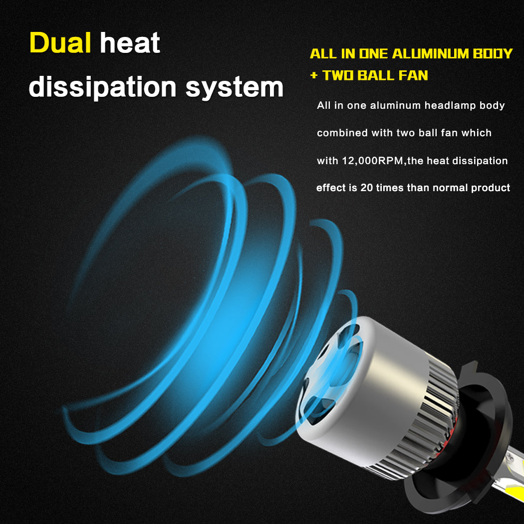 NIGHTEYE 72W 9000LM H11 LED Headlight Driving Fog Bulb Lamp Kit Mega White Beam