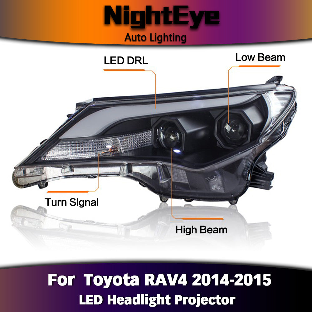 NightEye Car Styling for 2014-2015 New RAV4 LED Headlights RAV4 LED Headlight DRL Bi Xenon Lens High Low Beam Parking Fog Lamp