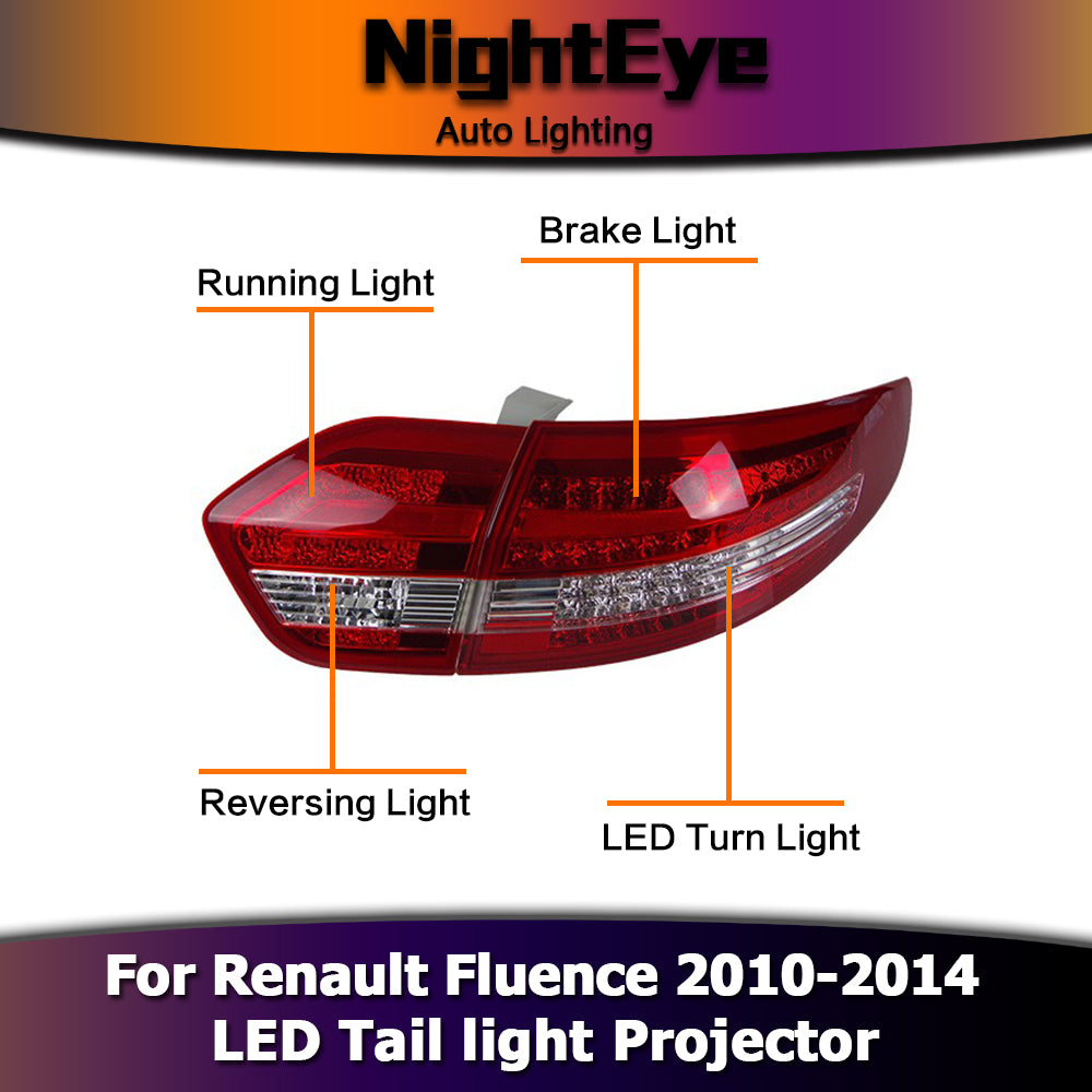 NightEye Car Styling for Renault Fluence LED Tail Lights 2010-2014 Almera SM3 Tail Light Rear Lamp DRL+Brake+Park+Signal