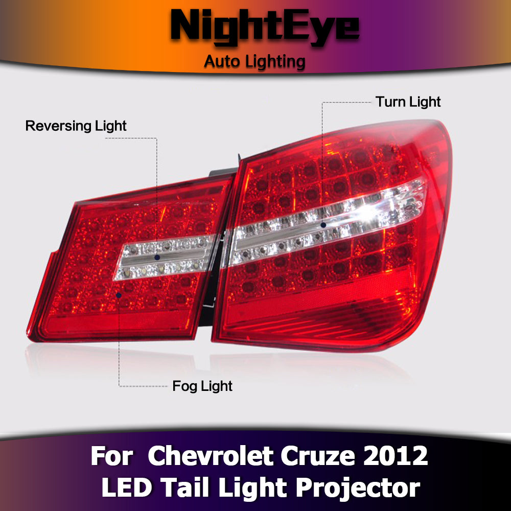 NightEye Car Styling for Chevrolet Cruze Tail Lights Benz Design 2012 Cruze LED Tail Light Rear Lamp DRL+Brake+Park+Signal
