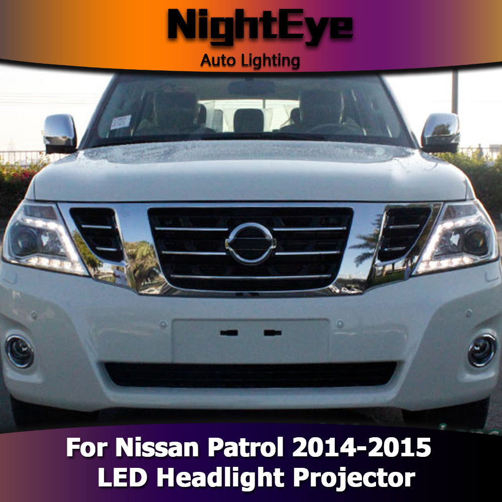 NightEye Car Styling for Nissan Patrol Headlights 2014-2015 Tourle LED Headlight Signal LED DRL Bi Xenon Lens High Low Beam Parking