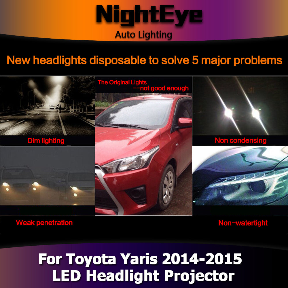 NightEye Car Styling for Toyota Yaris Headlights 2014-2015 New Yaris LED Headlight DRL Bi Xenon Lens High Low Beam Parking Fog Lamp