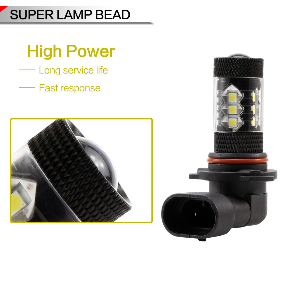 Nighteye 9006 80W LED Fog Lights Bulbs Fog light Driving Lamp White Pair Error Free