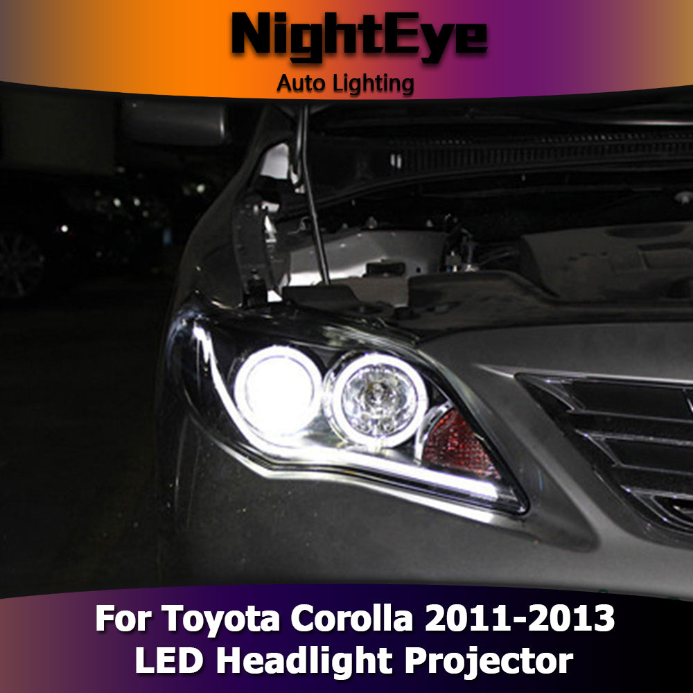 NightEyeCar Car Styling for Toyota Corolla Headlights 2011-2013 Angel Eye LED Headlight DRL Bi Xenon Lens High Low Beam Parking Fog Lamp