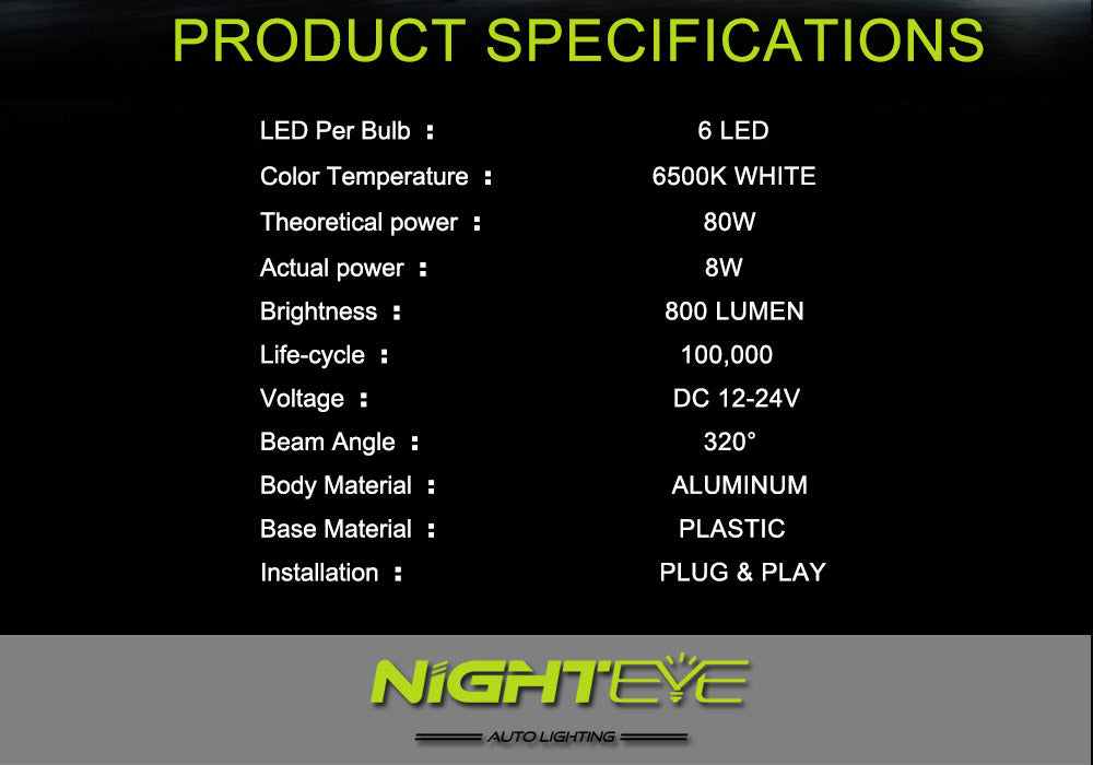 NIGHTEYE H11 CREE LED 800LM Fog Light Car Bulbs Daytime Headlight Kit White