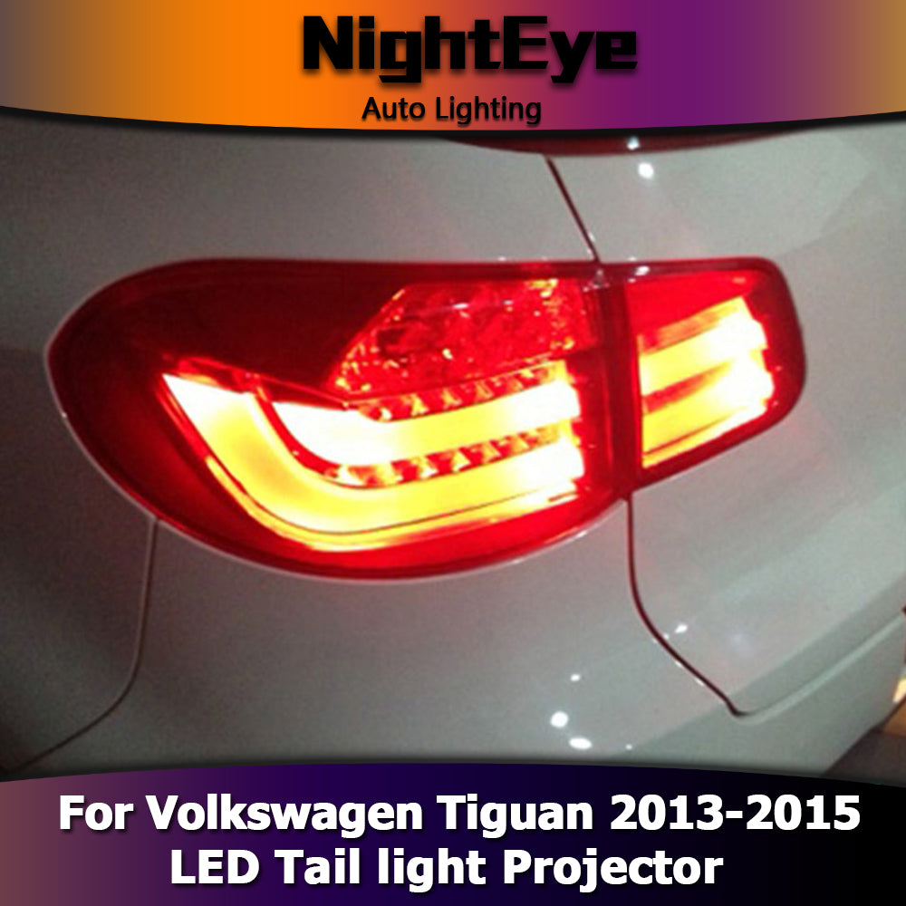 NightEye Car Styling for VW Tiguan Tail Lights 2013-2015 Volks Wagen New Tiguan LED Tail Light Rear Lamp DRL+Brake+Park+Signal