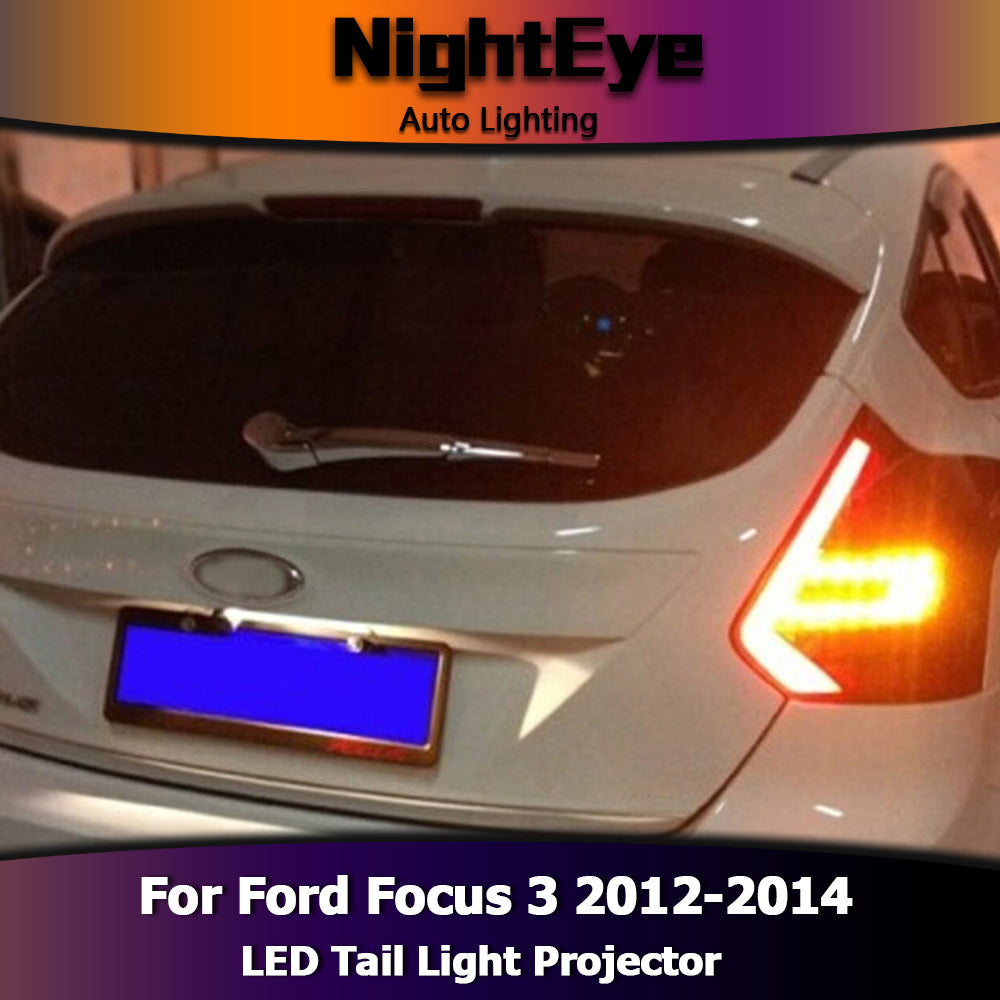 NightEye Car Styling for Ford Focus 3 Tail Lights 2012-2014 Focus Hatch Back LED Tail Light Rear Lamp DRL+Brake+Park+Signal