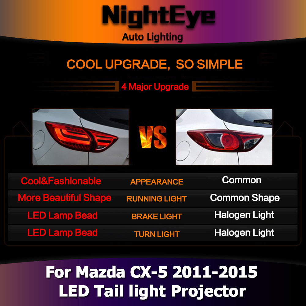 NightEye Car Styling for Mazda CX-5 Tail Lights 2011-2015 Mazda CX-5 LED Tail Light Rear Lamp DRL+Brake+Park+Signal