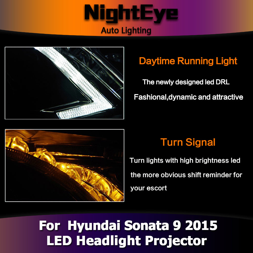 NightEye Car Styling for Hyundai Sonata 9 Headlights 2015 New Sonata LED Headlight LED DRL Bi Xenon Lens High Beam Parking Fog Lamp