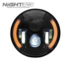 1 Set NIGHTEYE Brand 7inch  60W Hi/Low Beam LED Headlamp with two half-aperture for Harley Jeep