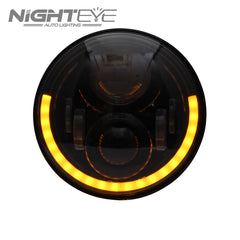 1 Set NIGHTEYE Brand 7inch  60W Hi/Low Beam LED Headlamp with half aperture for Harley Jeep - NIGHTEYE AUTO LIGHTING