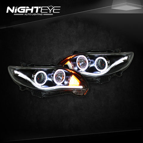 NightEye Toyota Corolla Headlights 2011-2013 Angel Eye LED Headlight