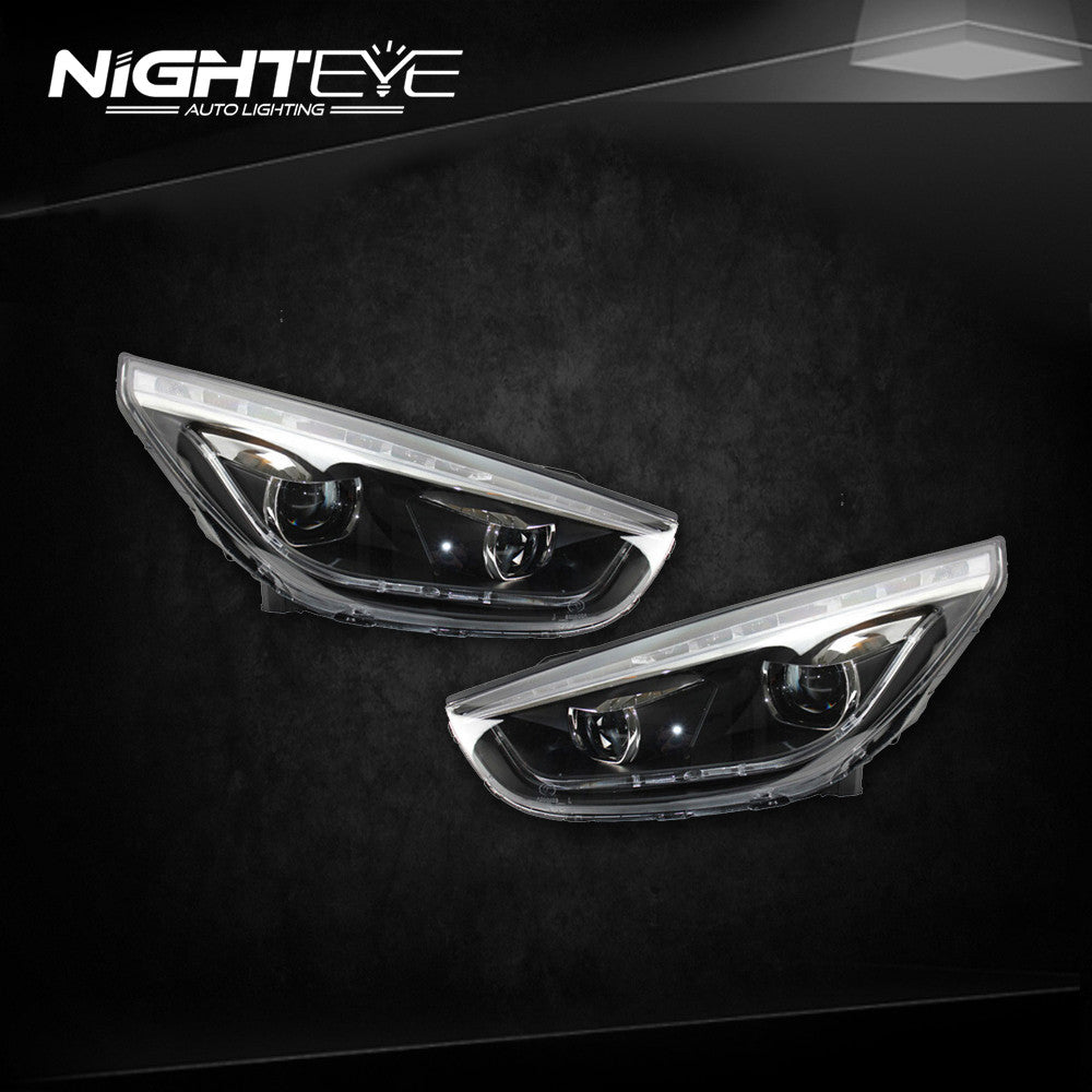 NightEye Hyundai IX35 Headlights LED DRL Bi Xenon Lens High Beam Parking Fog Lamp