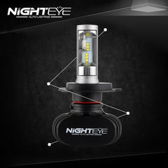 NIGHTEYE 8000LM H4 9003 HB2 Car LED Headlight Kit Replace Bulbs Lamp Hi/Lo Beam - NIGHTEYE AUTO LIGHTING