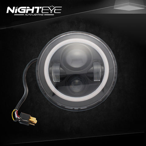 1 Sets Nighteye Bradn 60W Hi/Low Beam LED Headlamp with angel eyes For Harley Jeep