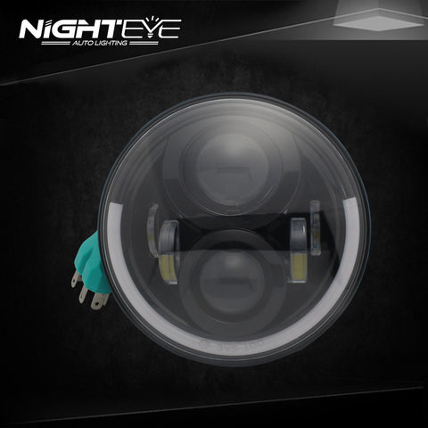 1 Set NIGHTEYE Brand 7inch  60W Hi/Low Beam LED Headlamp with half aperture for Harley Jeep
