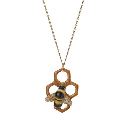 AND MARY - Ceramic Jewellery - Bumble Bee on Honeycomb - Silver Chain