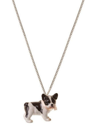 AND MARY Ceramic Jewellery French Bulldog B+W Pendant