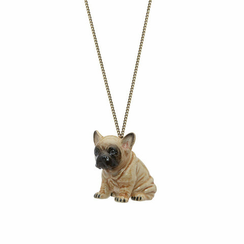 AND MARY Ceramic Jewellery Fawn French Bulldog Pendant