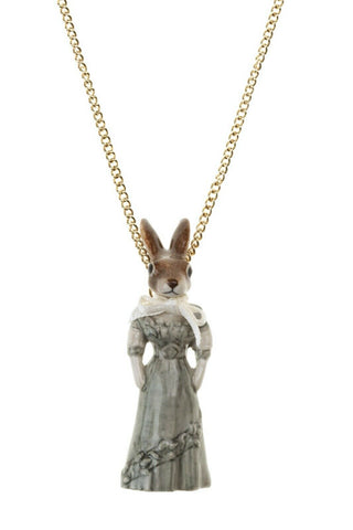 AND MARY Ceramic Jewellery Hare in Dress Pendant