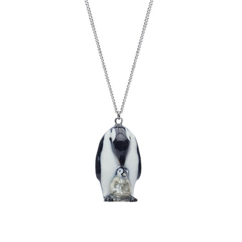 AND MARY - Ceramic Jewellery - Penguin & Baby - Silver Necklace