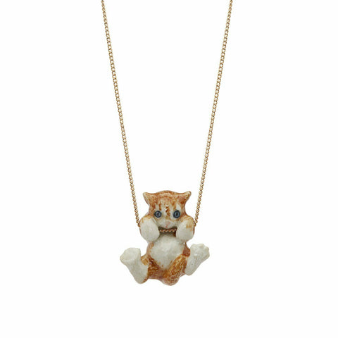 AND MARY Ceramic Jewellery Playful Ginger Kitten Pendant with Silver Necklace