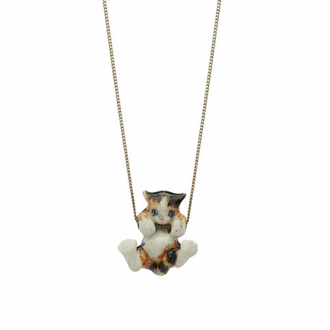 AND MARY - Ceramic Jewellery - Playful Torti Kitten - Silver Necklace