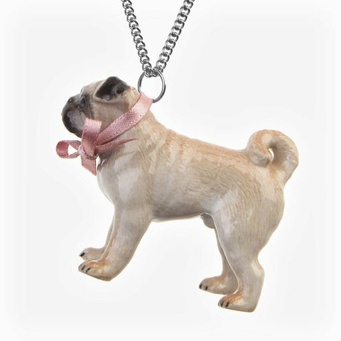 AND MARY Ceramic Jewellery Fawn Pug Pendant